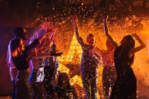 goldener Moment auf Party